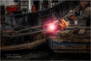 Boat repair. Polruan Cornwall